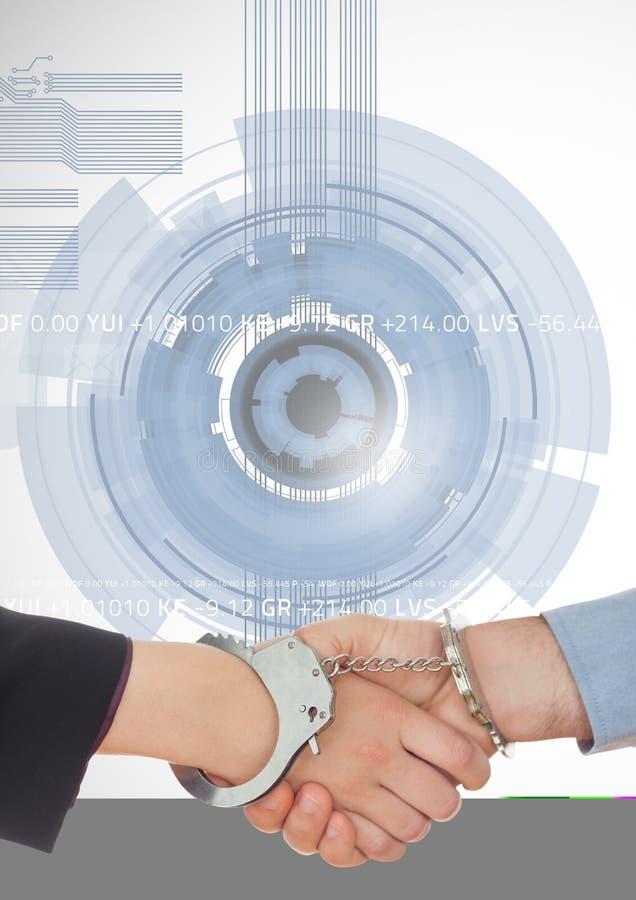 Bedrijfsberoeps die handen met handcuff schudden tegen technologieachtergrond stock foto's