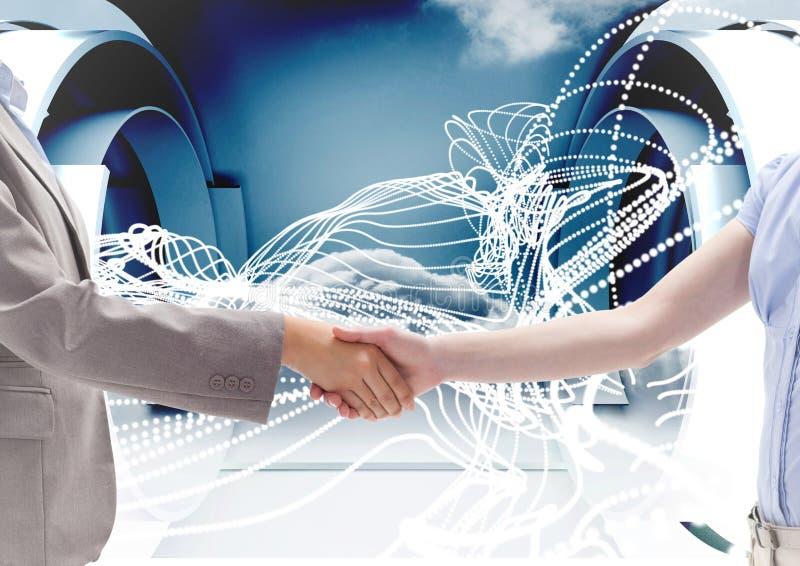 Bedrijfsberoeps die handen schudden tegen technologieachtergrond royalty-vrije stock afbeelding