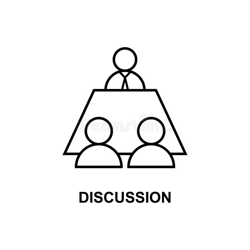 Bedrijfsbesprekingspictogram Element van conferentie met beschrijvingspictogram voor mobiele concept en webtoepassingen Overzicht royalty-vrije illustratie