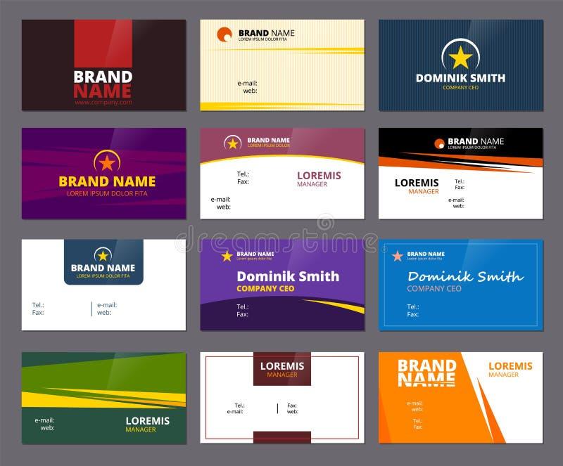 Bedrijfsbezoekkaarten De gekleurde kaarten van bureau collectieve of persoonlijke identiteitskaart met plaats voor project van he royalty-vrije illustratie