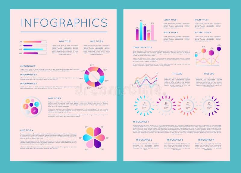 Bedrijfsbrochure met diverse infographics royalty-vrije illustratie