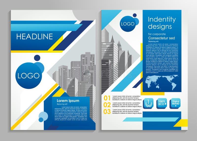 Bedrijfsbrochure of presentatie modieuze ontwerpsjabloon Vectorillustratie voor reclame, promo, presentaties, overzichten enz. royalty-vrije illustratie