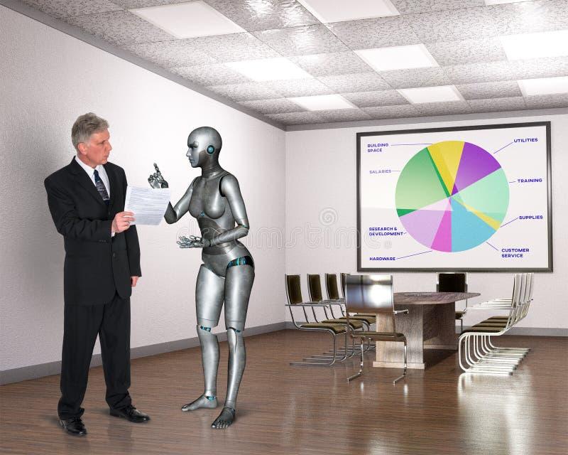 Bedrijfsbureau, Arbeiders, Robotvergadering, Technologie royalty-vrije stock afbeeldingen