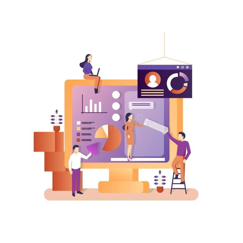 Bedrijfsbureau vectorconcept voor Webbanner, websitepagina royalty-vrije illustratie