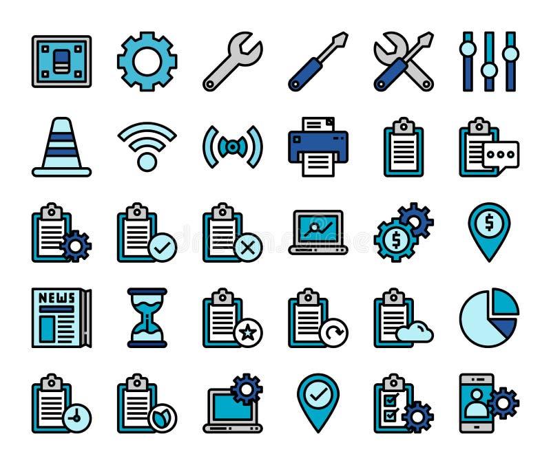 Bedrijfsbureaudocument reeks van het de lijnpictogram van het documentrapport de vlakke Van het de steunsymbool van de bedrijfdie stock illustratie