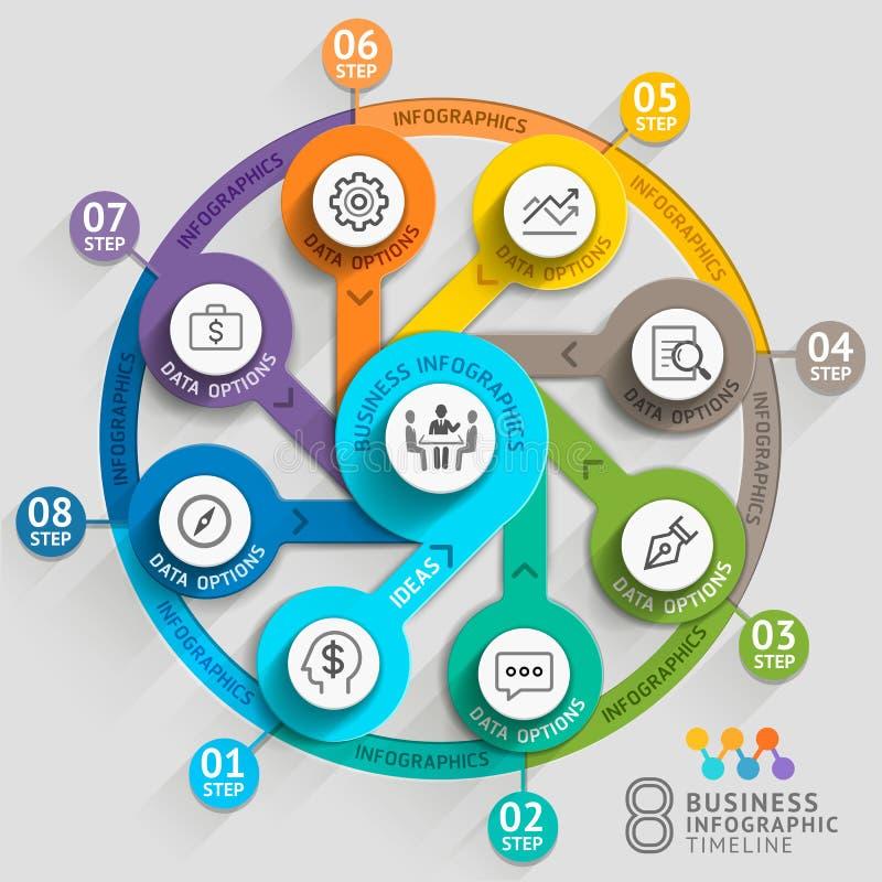 Bedrijfschronologie infographic malplaatje royalty-vrije illustratie