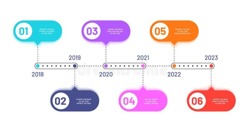 Bedrijfschronologie 6 processtappen, het horizontale diagram van de werkschemaverwerking Infographics vectorstroomschema royalty-vrije illustratie