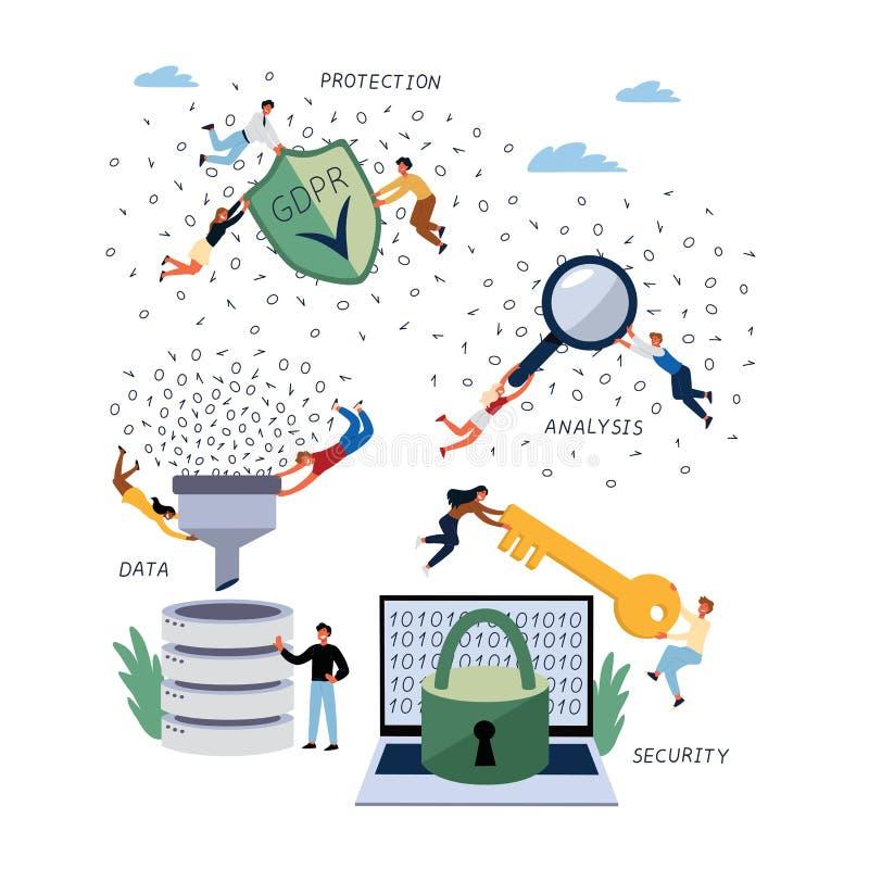 Bedrijfsconcept Algemene GDPR, Gegevens en Database, Bescherming, Regulationand-Veiligheid royalty-vrije illustratie