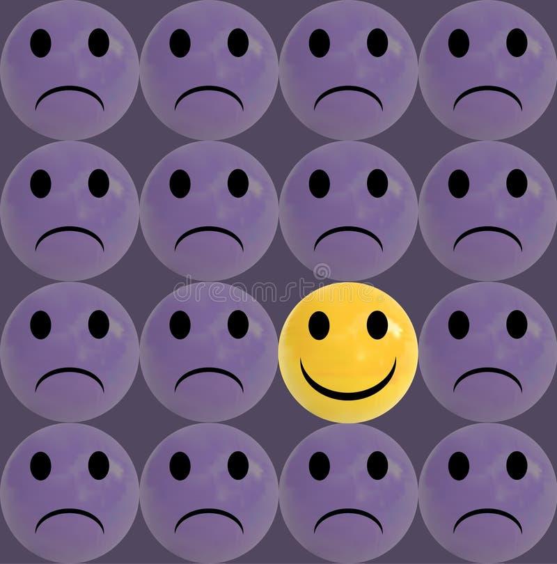 Bedrijfsconcept als groep purpere droevige emoticons en met één individuele gele smiley royalty-vrije illustratie