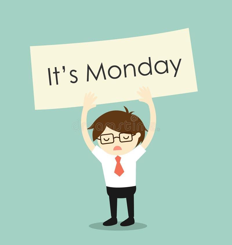 Bedrijfsconcept, Bedrijfsdiemensengevoel op Maandag wordt vermoeid Vector illustratie vector illustratie
