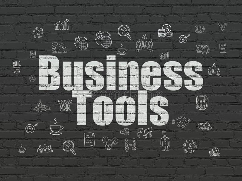 Bedrijfsconcept: Bedrijfshulpmiddelen op muurachtergrond vector illustratie