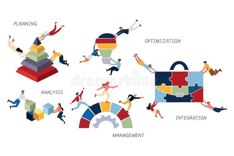 Bedrijfsconcept Bedrijfsstrategie, Optimalisering, Integratie, Analyse, het Schaven en Beheer royalty-vrije illustratie