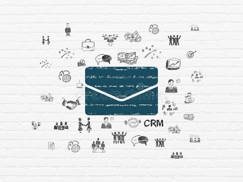 Bedrijfsconcept: E-mail op muurachtergrond royalty-vrije illustratie