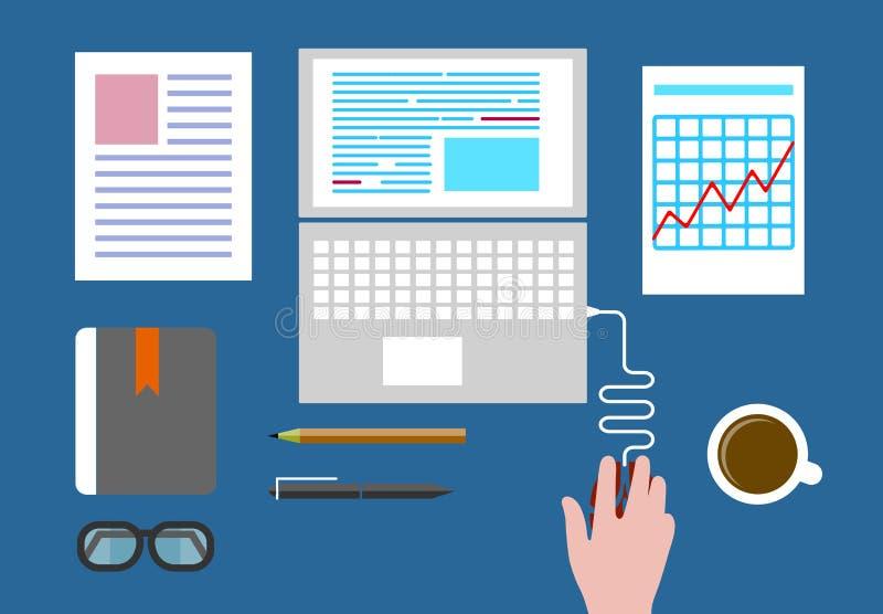 Bedrijfsconcept een Desktop bij bureau vlakke stijl vector illustratie