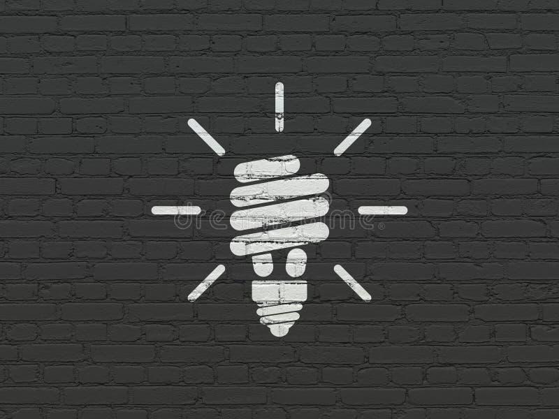 Bedrijfsconcept: Energie - besparingslamp op muurachtergrond stock afbeeldingen