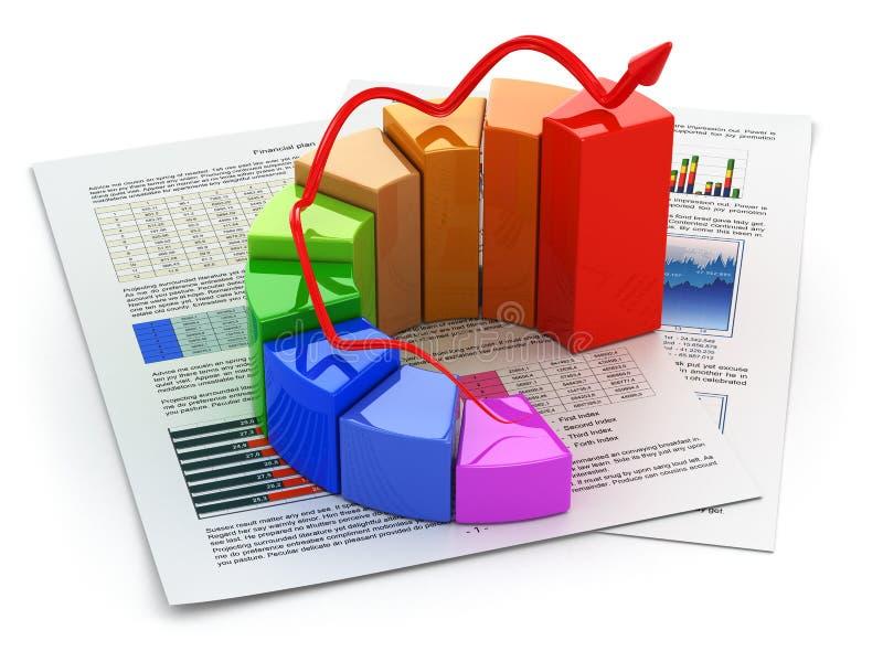 Bedrijfsconcept. Grafiek en businessplan. stock illustratie
