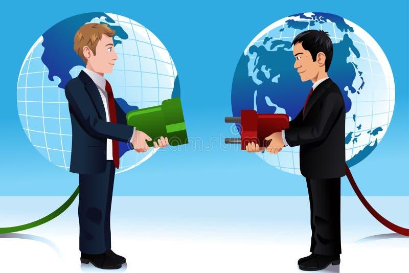 Bedrijfsconcept het verbinden van Oostelijke en Westerse wereld vector illustratie