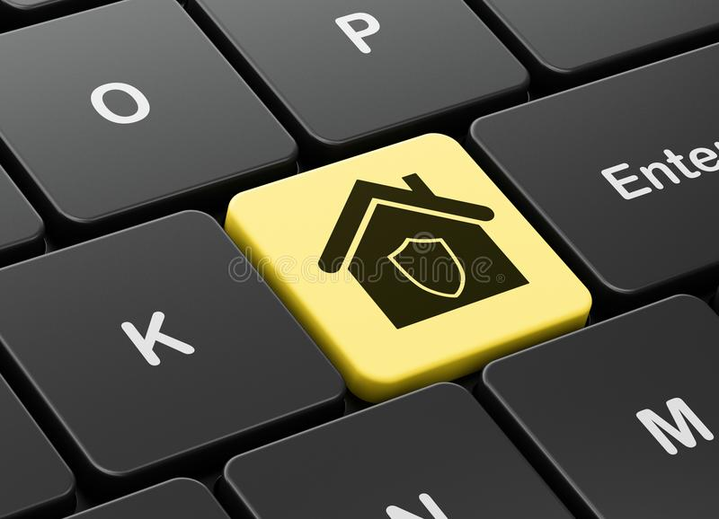 Bedrijfsconcept: Huis op de achtergrond van het computertoetsenbord stock foto's
