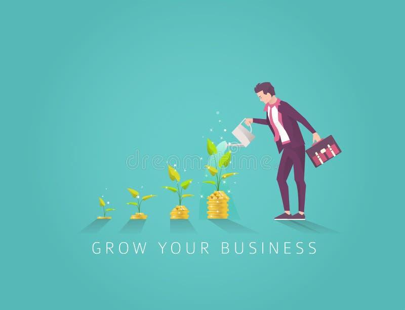 Bedrijfsconcept investering in geldboom in stap vier vector illustratie