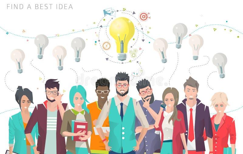 Bedrijfsconcept keus en het zoeken van beste idee vector illustratie