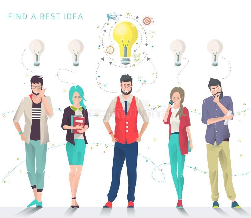 Bedrijfsconcept keus en het zoeken van beste idee royalty-vrije illustratie