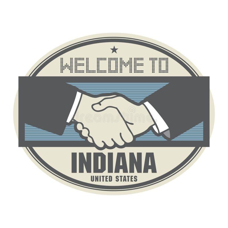 Bedrijfsconcept met handdruk en het tekstonthaal aan Indiana, vector illustratie