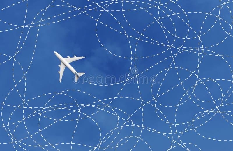 Bedrijfsconcept met vliegtuig en zijn spoormanier oplossing, het oplossen royalty-vrije stock fotografie
