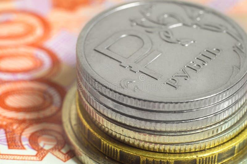 Bedrijfsconcept rijken, rijkdom, winst en financiën Achtergrond Russisch roebelsclose-up Heel wat geld royalty-vrije stock foto
