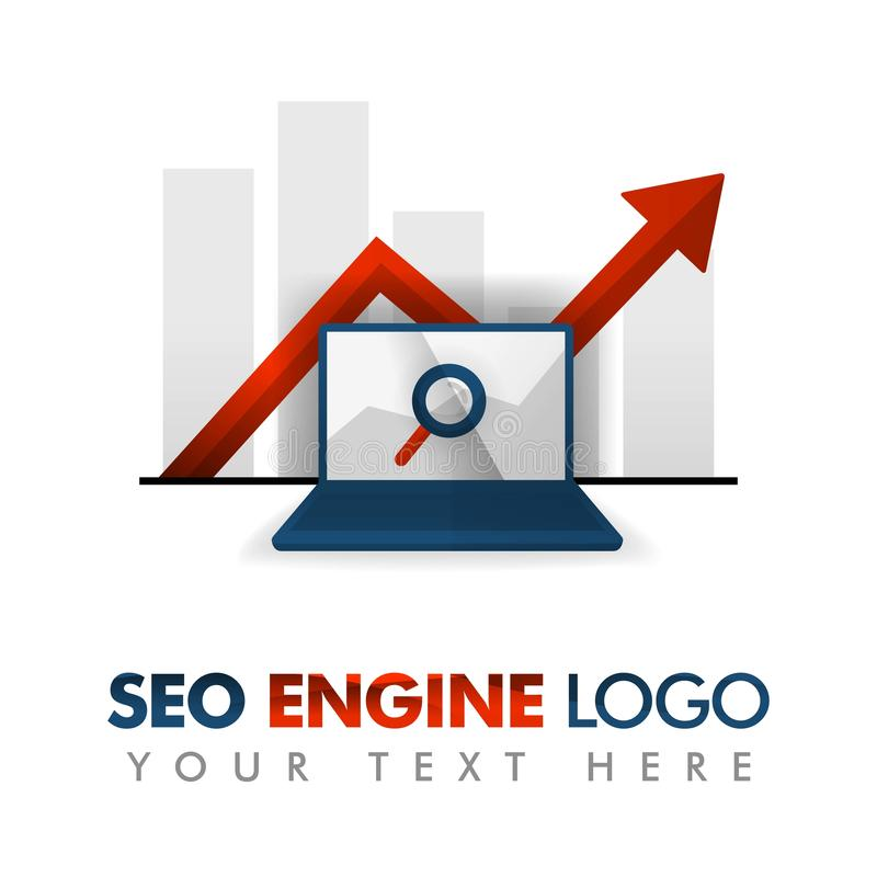 Bedrijfsconcept vectorillustratie SEO-embleem, marketing strategie, online bevordering, Internet-advertentie, reclamegrafiek, sle royalty-vrije illustratie