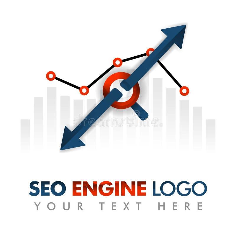 Bedrijfsconcept vectorillustratie SEO-embleem, marketing strategie, online bevordering, Internet-advertenties, reclame, abstracte stock illustratie