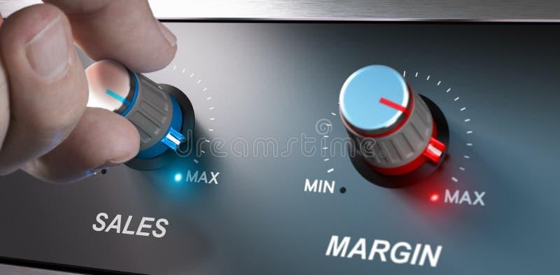 Bedrijfsconcept, Verhogingsverkoop en Marge vector illustratie