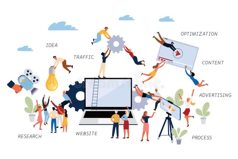 Bedrijfsconcept Video marketing, Onderzoek, Proces, Optimalisering, Reclame, Website, Verkeer, Idee en Inhoud royalty-vrije illustratie