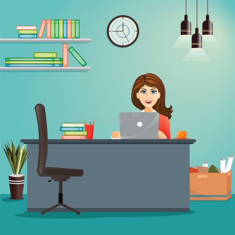 Bedrijfsconcept - vrouw die bij haar bureau werken De werkplaats van het bureau stock illustratie