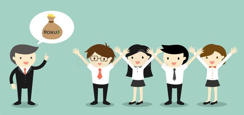 Bedrijfsconcept, Werkgever over bonus spreken en bedrijfsmensen die gelukkig voelen stock illustratie