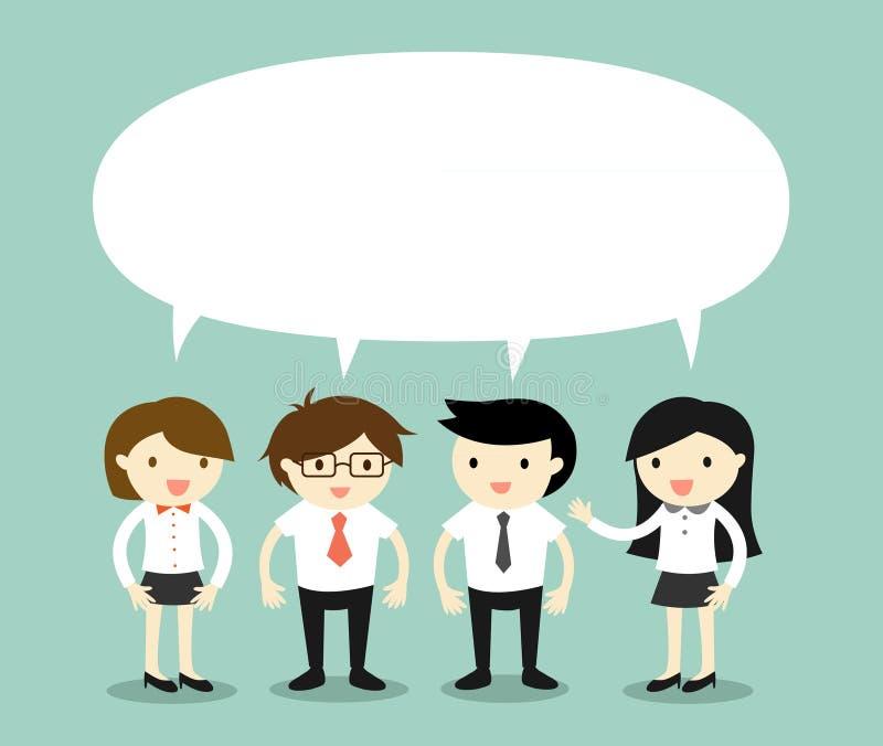 Bedrijfsconcept, zakenlieden en bedrijfsvrouwen die hetzelfde ding of hetzelfde idee/het concept spreken Vector illustratie royalty-vrije illustratie
