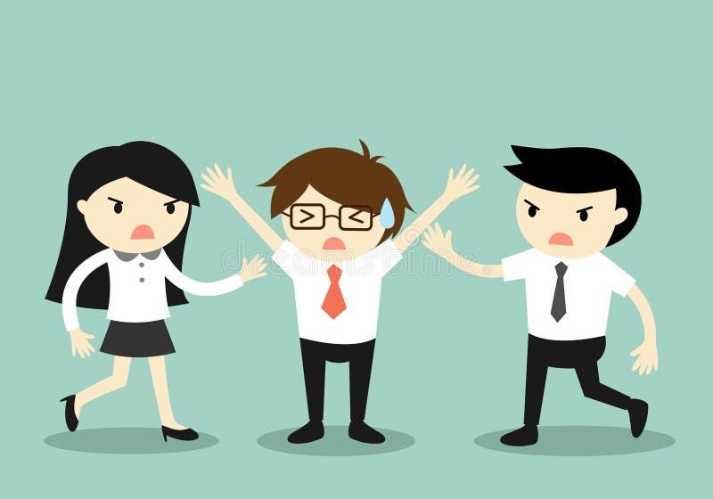 Bedrijfsconcept, Zakenman die een strijd tussen twee medewerkers proberen tegen te houden vector illustratie