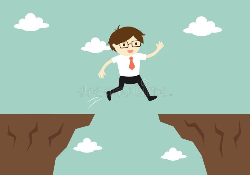 Bedrijfsconcept, zakenmansprong door het hiaat aan een andere klip royalty-vrije illustratie