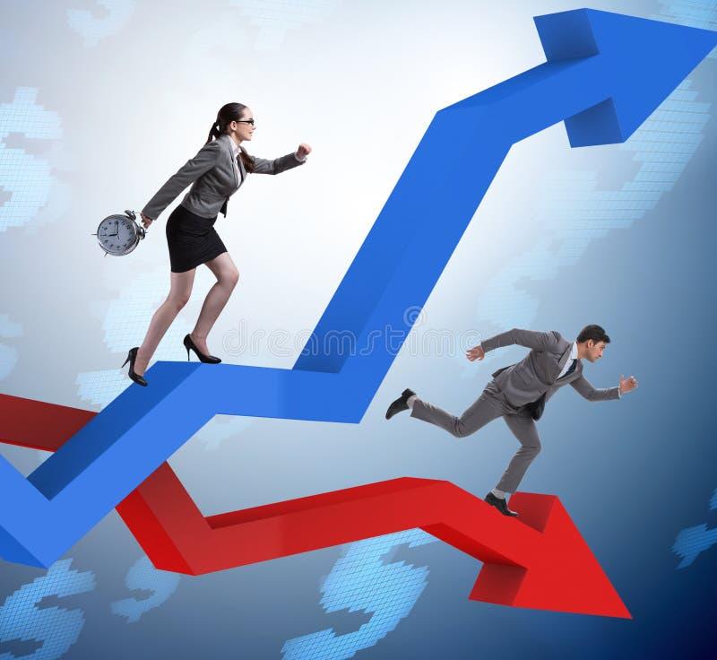 Bedrijfsconcept zowel crisis als terugwinning stock afbeelding