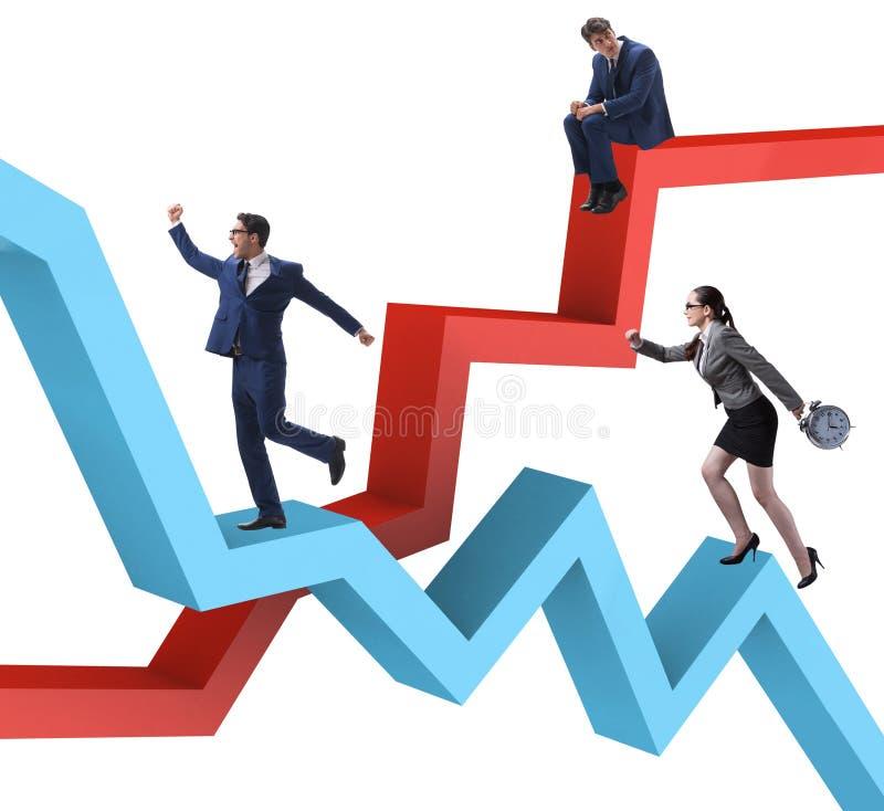 Bedrijfsconcept zowel crisis als terugwinning royalty-vrije stock foto