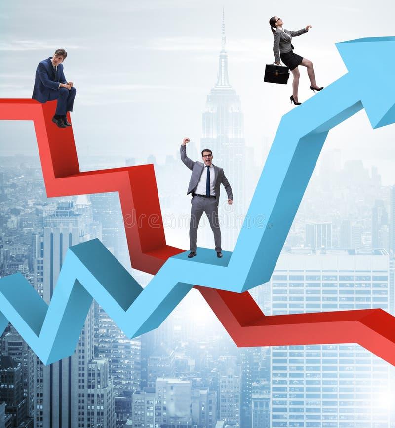 Bedrijfsconcept zowel crisis als terugwinning stock afbeeldingen