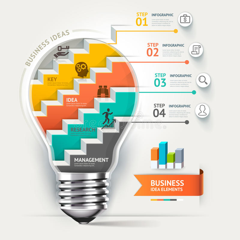 Bedrijfsconcepten infographic malplaatje Lightbulb s stock illustratie