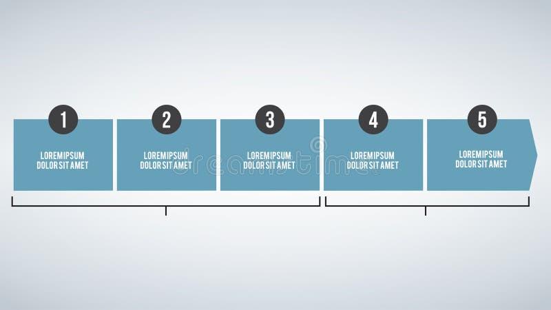 Bedrijfsconceptenchronologie Het Infographmalplaatje, 5 stappen infographic, vectorbanner kan voor werkschemalay-out, diagram, he vector illustratie