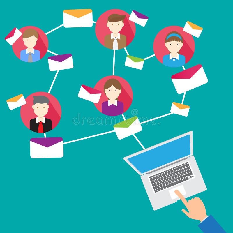 Bedrijfsconceptene-mail Beheer de organisatie vector illustratie