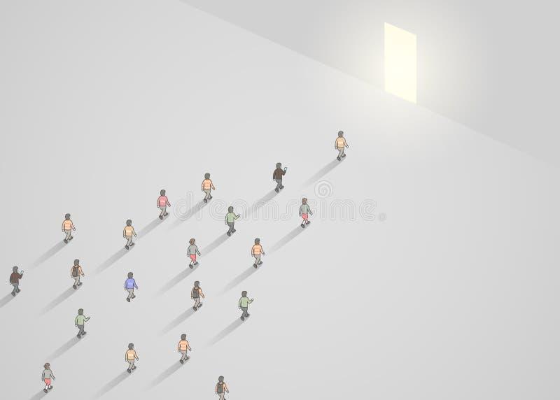 Bedrijfsconceptenillustratie van menigte van mensen die in smalle deur lopen Het concept van de leider vector illustratie