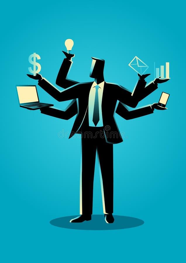 Bedrijfsconceptenillustratie voor multitasking vector illustratie