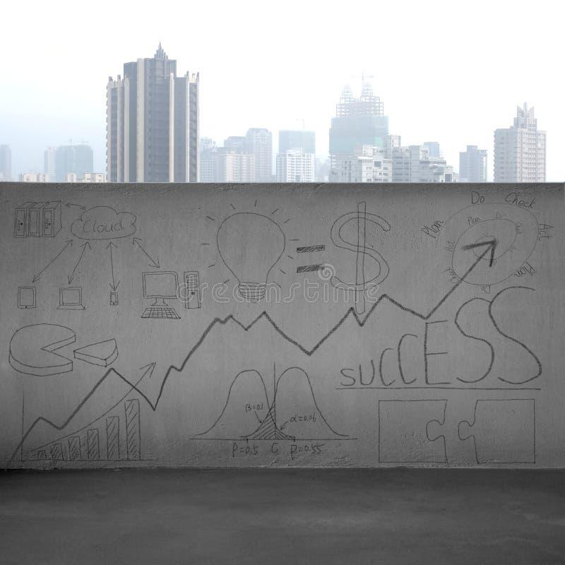 Bedrijfsconceptenkrabbels op concrete muur met stadsmening stock afbeeldingen