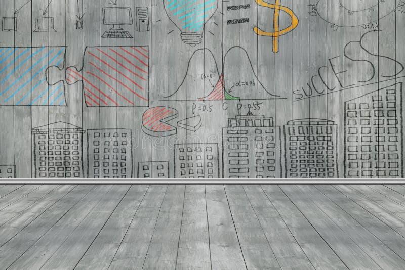 Bedrijfsconceptenkrabbels op donkergrijze houten muur en vloer royalty-vrije stock foto's
