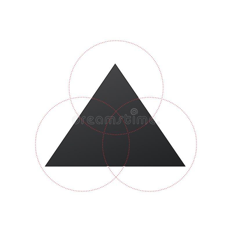 Bedrijfsconceptontwerp met driehoek en 3 cirkelsegmenten Het Infographicmalplaatje kan voor presentatie, Webontwerp worden gebrui stock illustratie