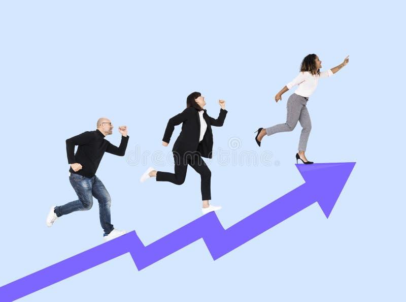 Bedrijfsconcurrenten die aan succes rennen stock afbeeldingen