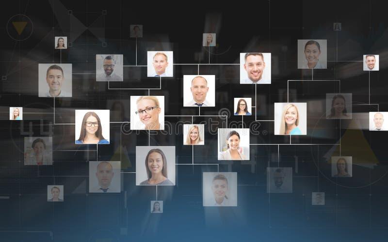Bedrijfscontacten over donkerblauwe achtergrond royalty-vrije stock afbeeldingen